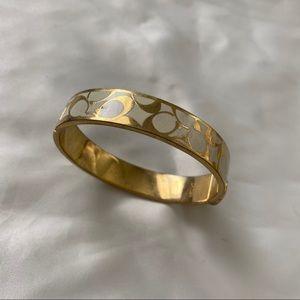 COACH gold and white enamel bangle